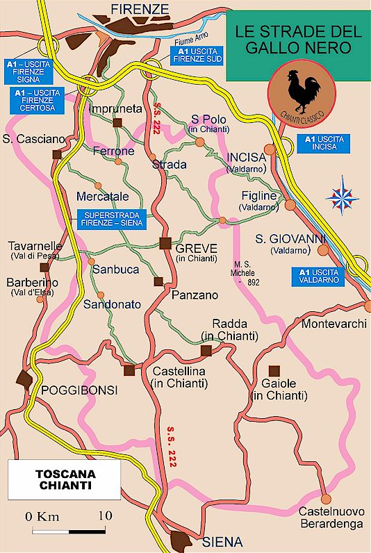 Chianti classico map - towns and vineyards
